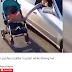 Woman Seen Steering Her Car With One Hand And Pushing Her Baby In His Carriage With The Other