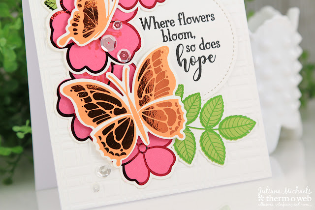 Hope Card by Juliana Michaels featuring Therm O Web Gina K Designs Butterfly Wishes Stamp and Die Set and coordinating Butterfly Wishes Foil Mates