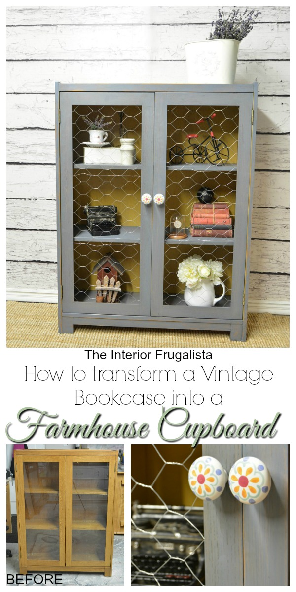 Vintage Bookcase transformed into a Farmhouse Cupboard Before and After