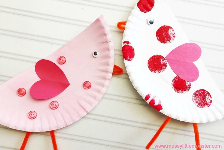 love birds craft. paper plate craft for kids.