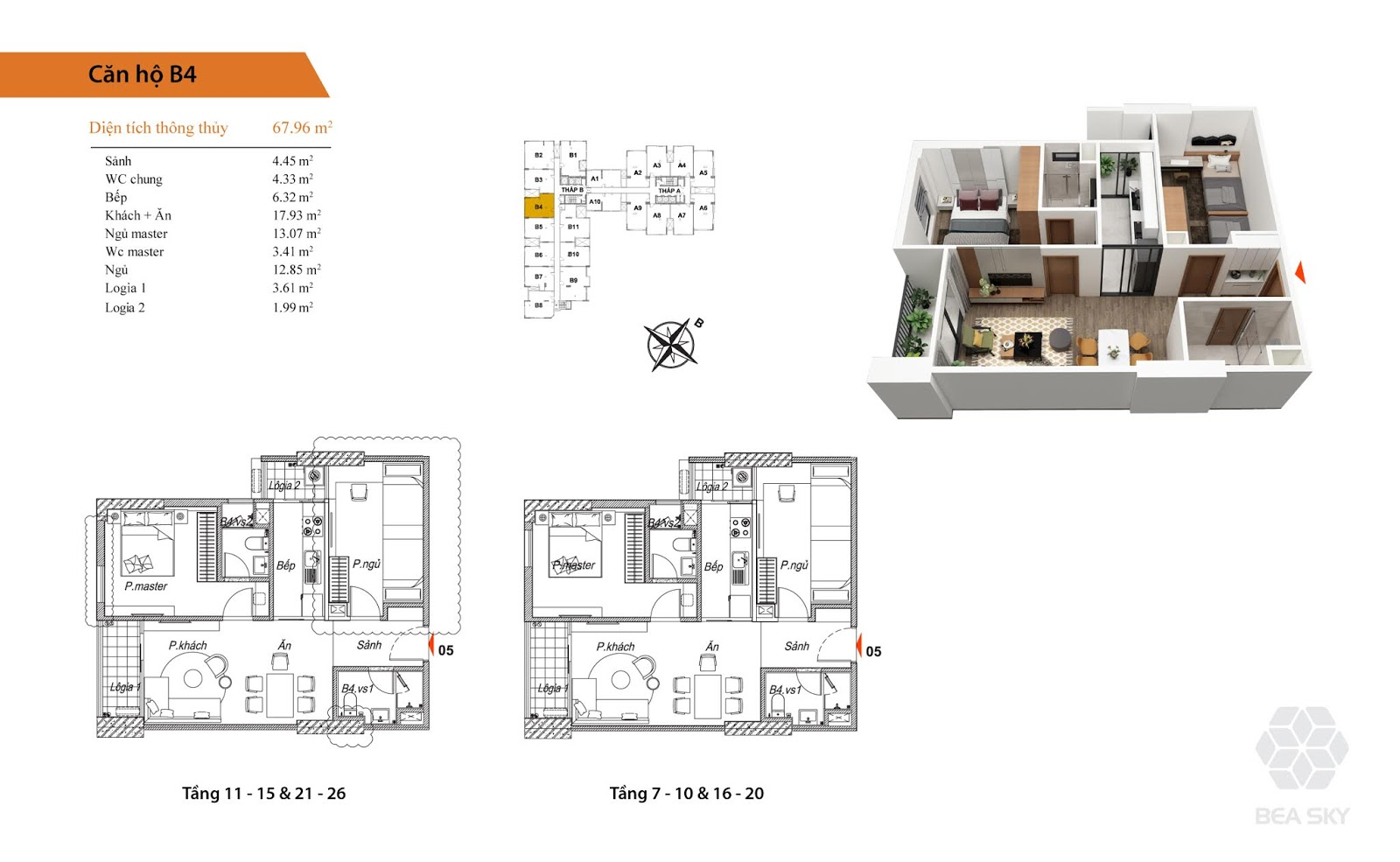 Thiết kế căn B4 chung cư Bea Sky Nguyễn xiển