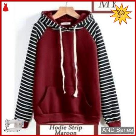 AND368 Sweater Wanita Hoodie Strip Marron BMGShop