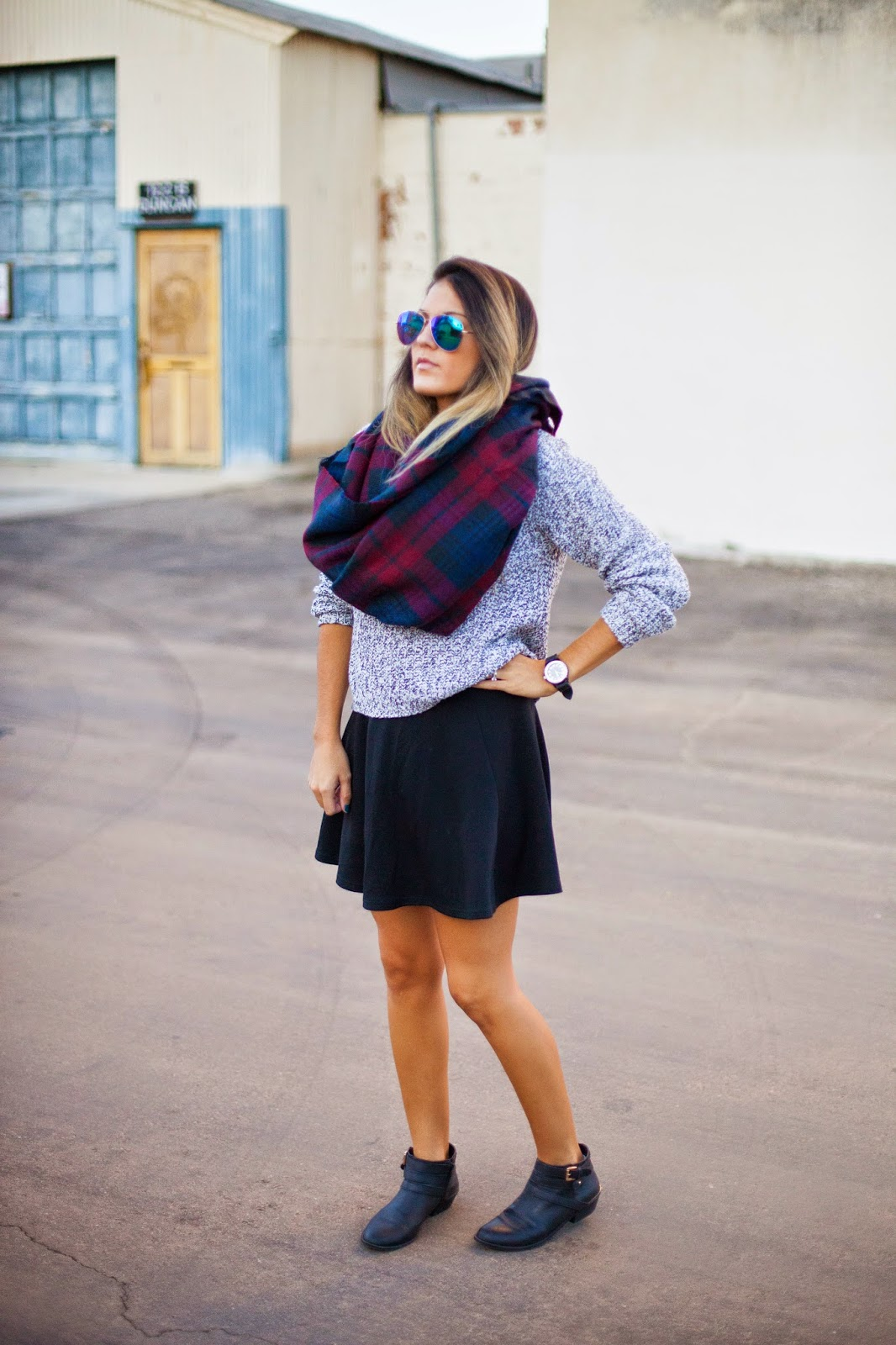 plaid and knit fashion