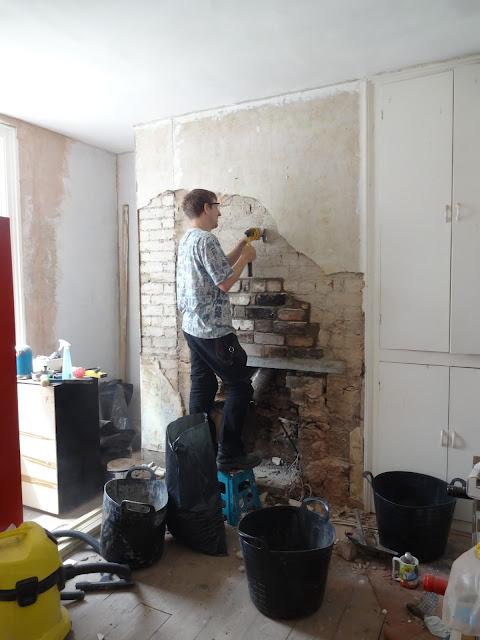 removing plaster around chimney