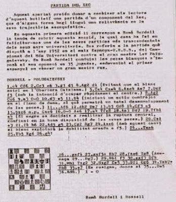 Partida de ajedrez Bordell-Polugaievsky en 1956
