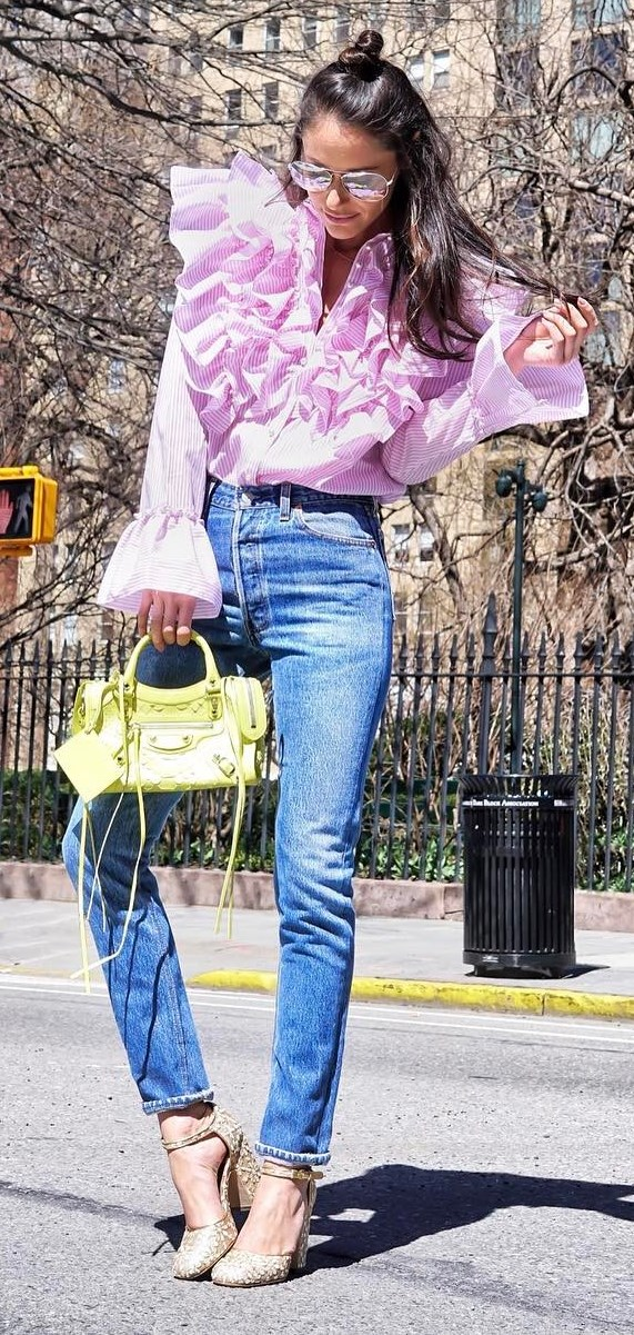 fashionable outfit: top + jeans + bag