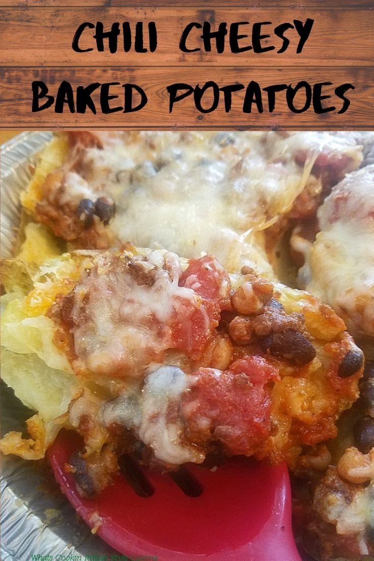 this is a photo for Pinterest and has a loaded baked potato with chili photo on it