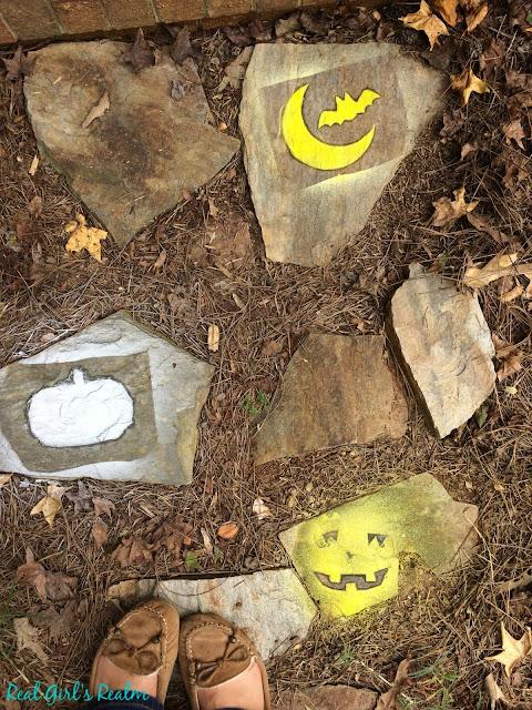 Make spooky stepping stones with chalk spray
