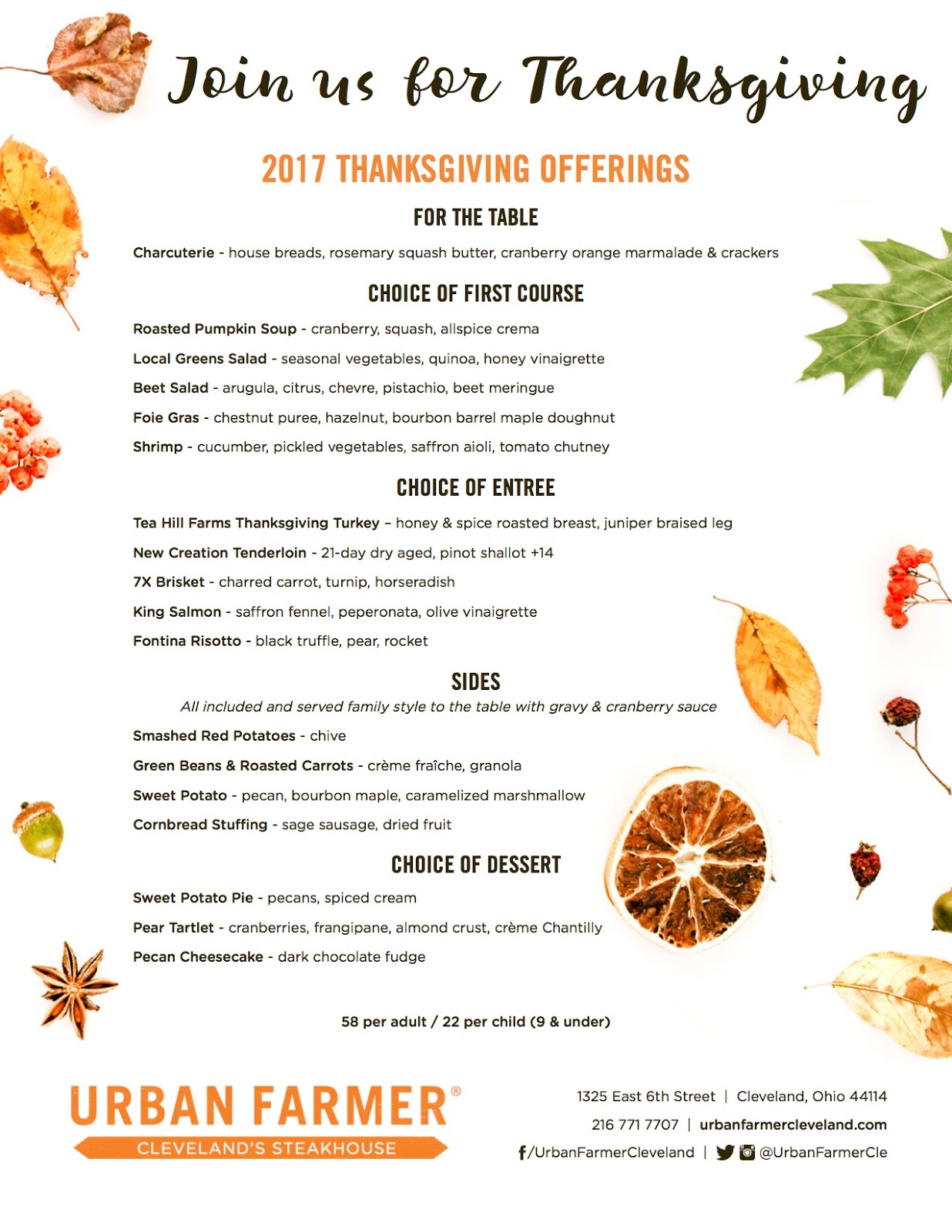 Eat drink cleveland turkey day the urban farmer way for Restaurants serving thanksgiving dinner near me 2017