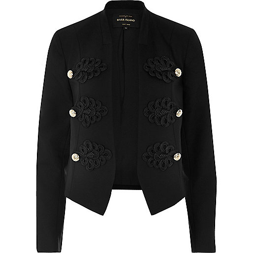 River Island Black Smart Buttoned Blazer, River Island, Military, Military Jacket