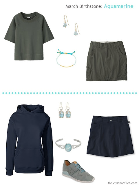 How to wear aquamarines, the march birthstone, in a capsule wardrobe
