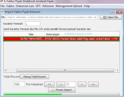 efaktr error ETAX-20023, Format Faktur Salah Flag