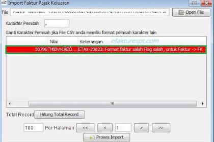 Import Data e-Faktur dari KPP Error ETAX-20023, Format Faktur Salah Flag