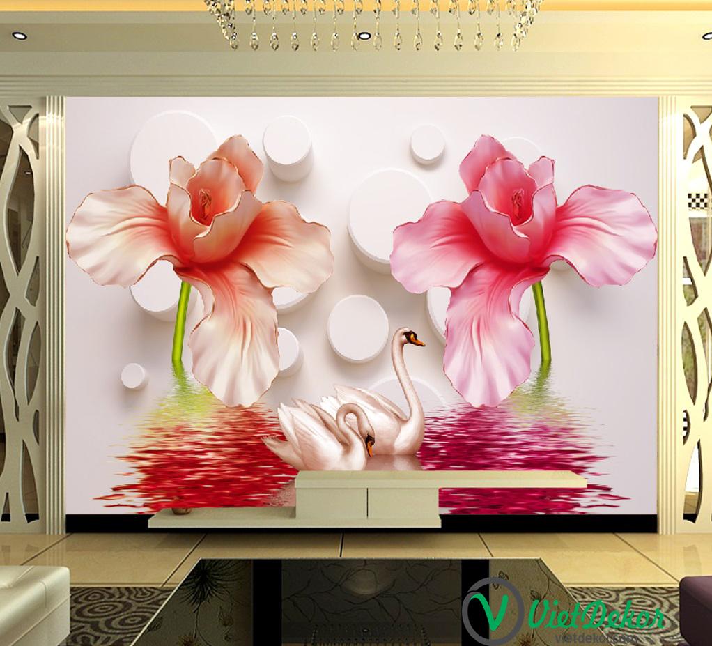 Tranh dán tường 3d hoa và thiên nga trang trí phòng ngủ