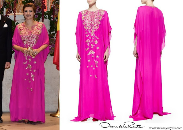 Princess Stephanie wore Oscar de la Renta Metallic Embroidered Chiffon Caftan Gown