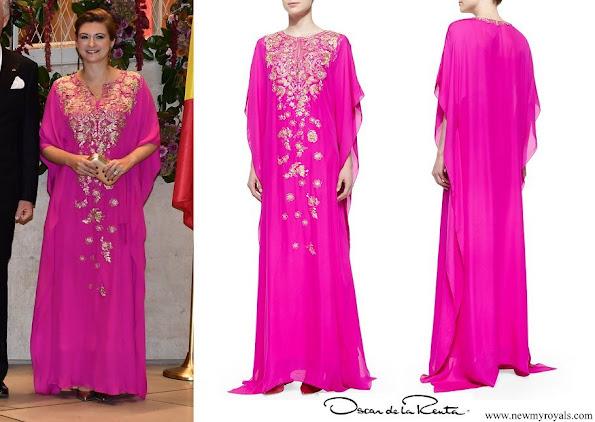 Princess Stephanie wore Oscar de la Renta Metallic Embroidered Chiffon Caftan Gown