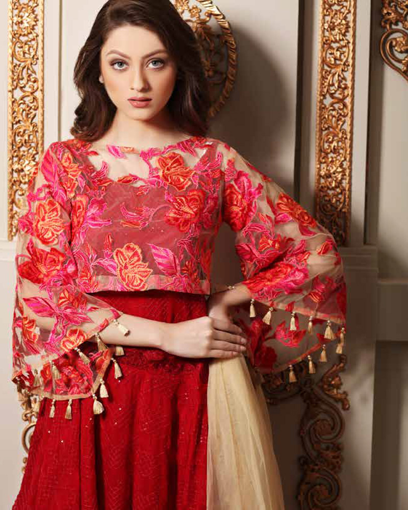 92c15d4c15 Charizma 2017 Unstitched Signora Chiffon Collection Vol-3 Romance In Red  SC-21 with model Neha Rajpoot