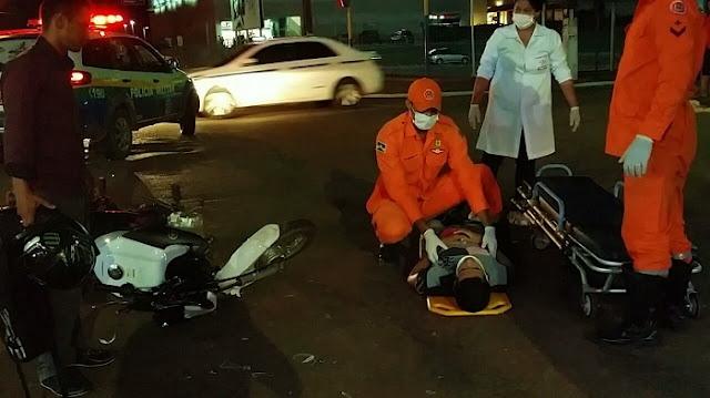 Irresponsável atropela motociclista e foge sem prestar socorro, mas populares consegue detê-lo