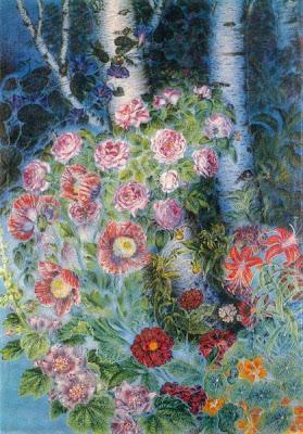 """Екатерина Билокур """"Цветы и березки вечером"""", 1950 г."""