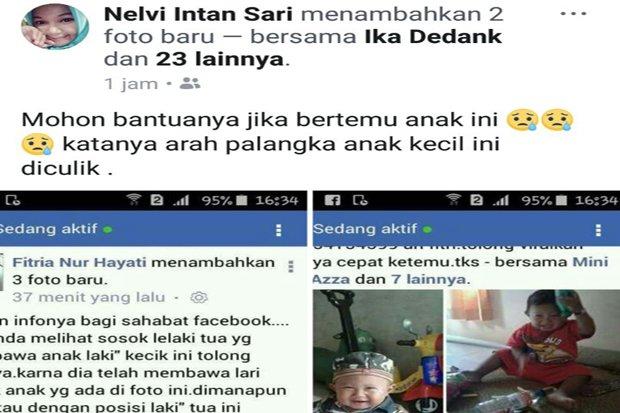 Duh, Balita Diduga Diculik, Keluarga Posting di Facebook