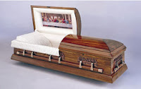 coffin with lifting lid face view casket