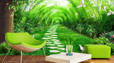 wallpaper dinding 3d taman hijau