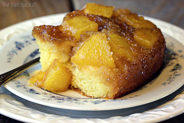 The Hen Basket Pineapple Upside Down Caramel Poke Cake