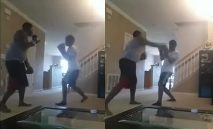 Video, Photos: Man Engages Son In Boxing Fight As Punishment For Skipping Classes, Knocks Him Silly