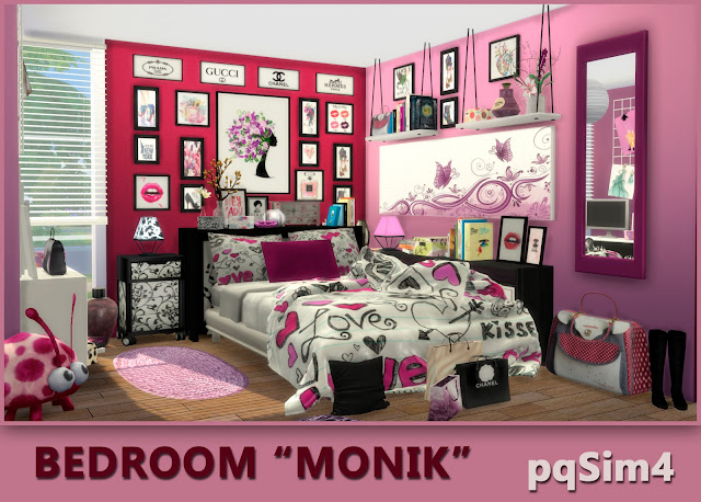 Bedroom Monik. Sims 4 CC download.