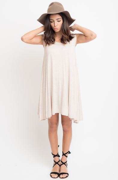 Buy Now Oatmeal Jersey Scoop Neck Cap Sleeve Dress Tunic Online -Final Sale- $20 -@caralase.com