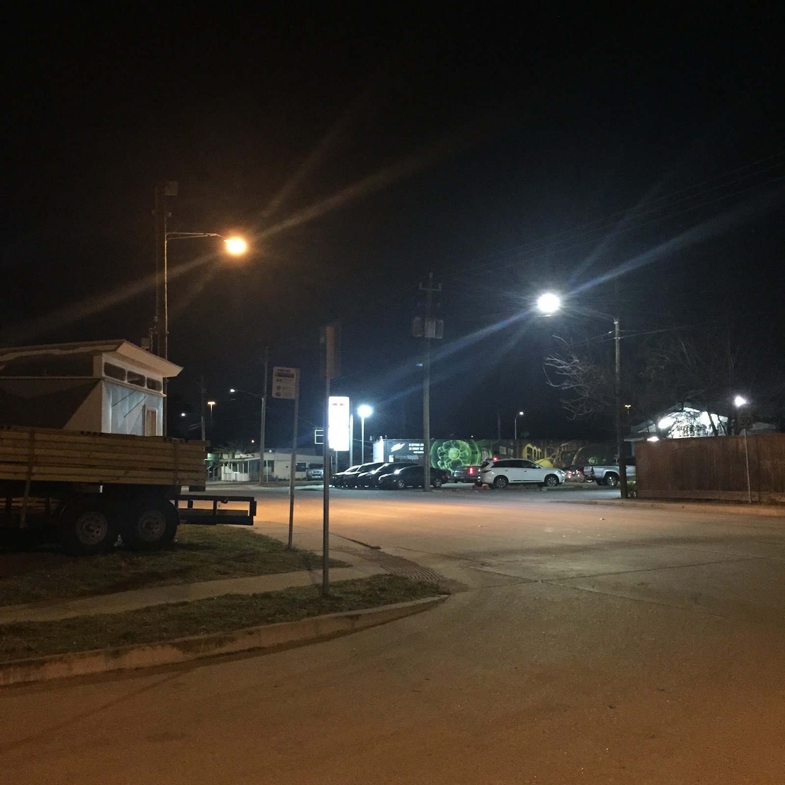high pressure sodium light left and a new led light right on