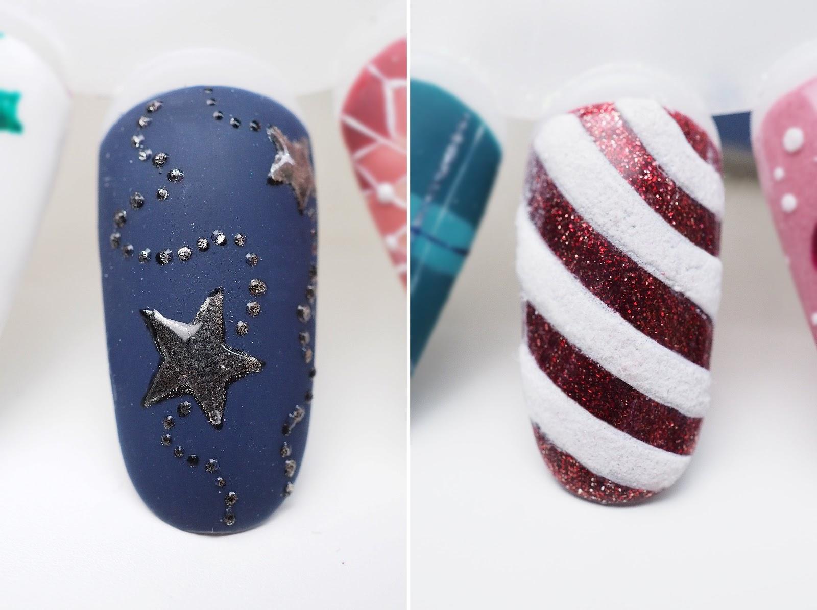 czerwony świąteczny na paznokciach