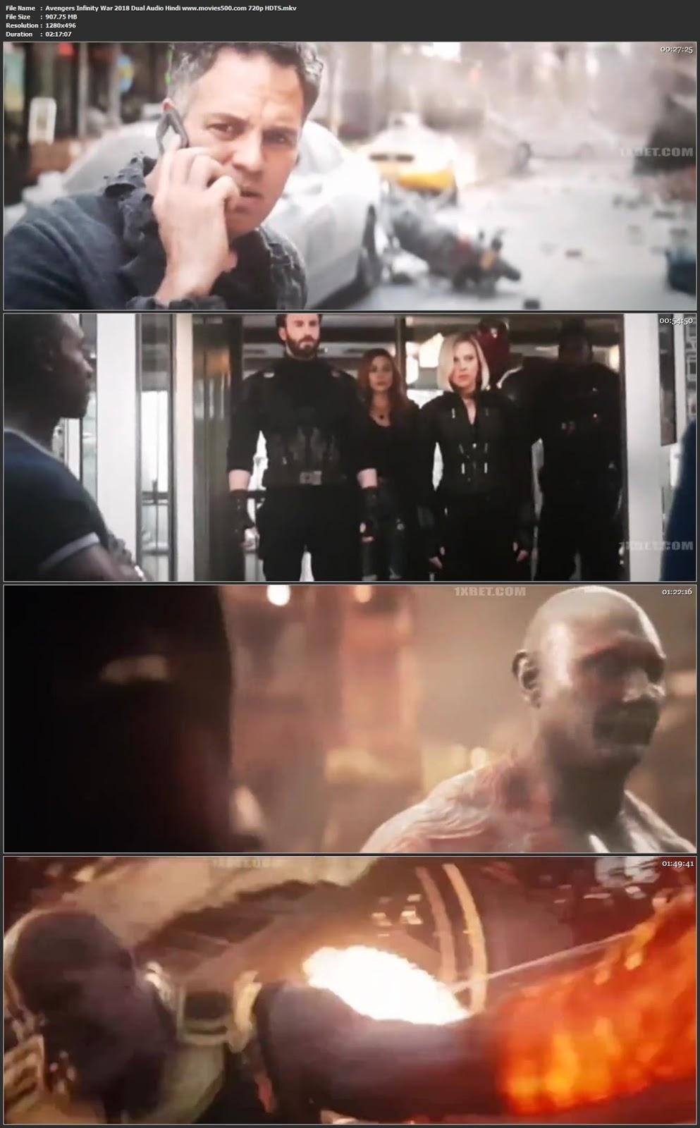 Avengers Infinity War 2018 Hindi Dubbed 300MB HDTSRip 480p at movies500.site