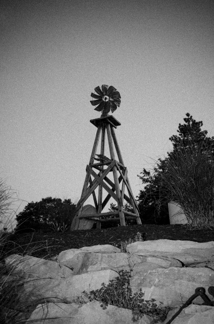 black and white picture of a windmill