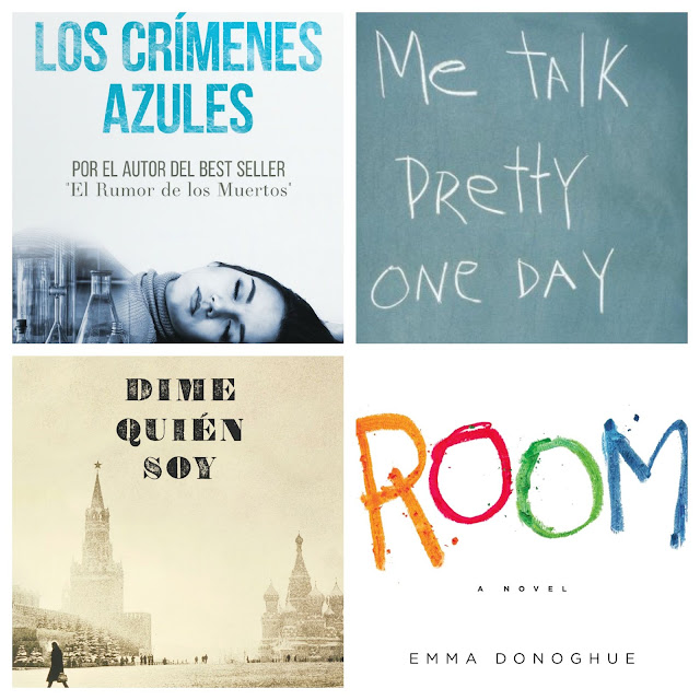 Book reviews of: Los crímenes azules, Me talk pretty one day, Dime quién soy and Room