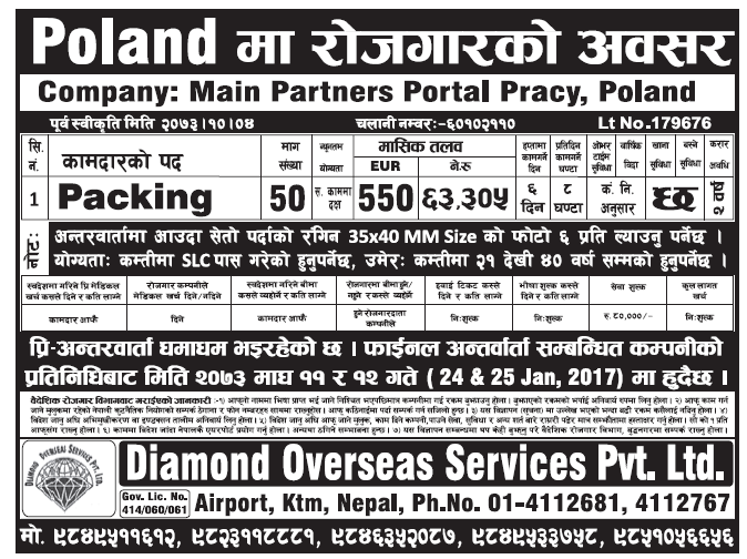 Jobs in Poland for Nepali, Salary Up to Rs 63,305