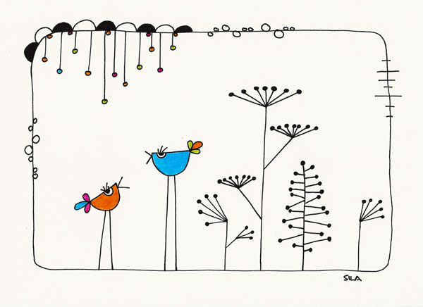 Birds Talk, Zeichnung, drawing