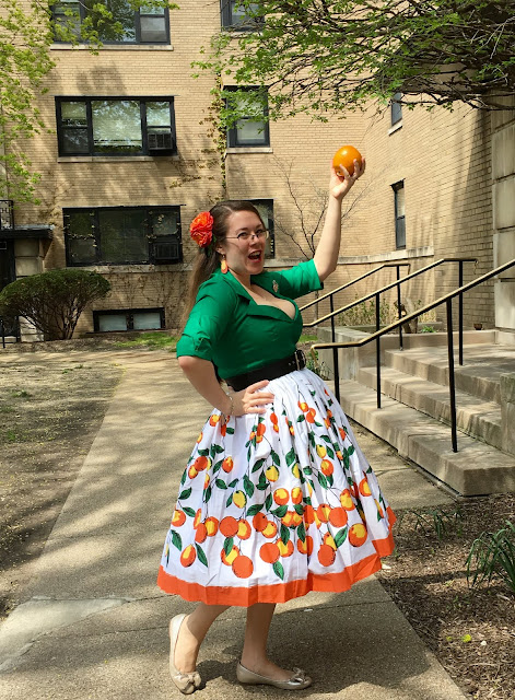 pinup girl clothing oranges jenny skirt