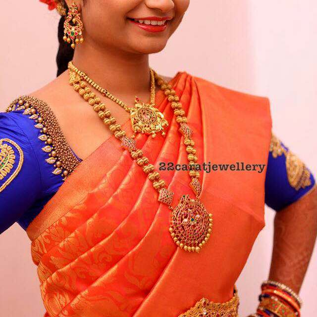 Bride in Gold Beads Long Set Vaddanam