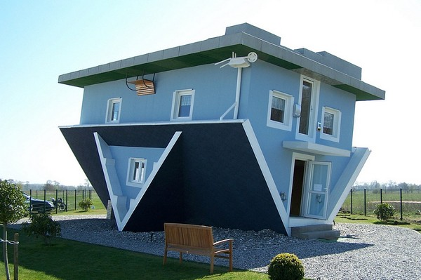 Upside Down Blue House in Trassenheide (Germany), Awkward Homes