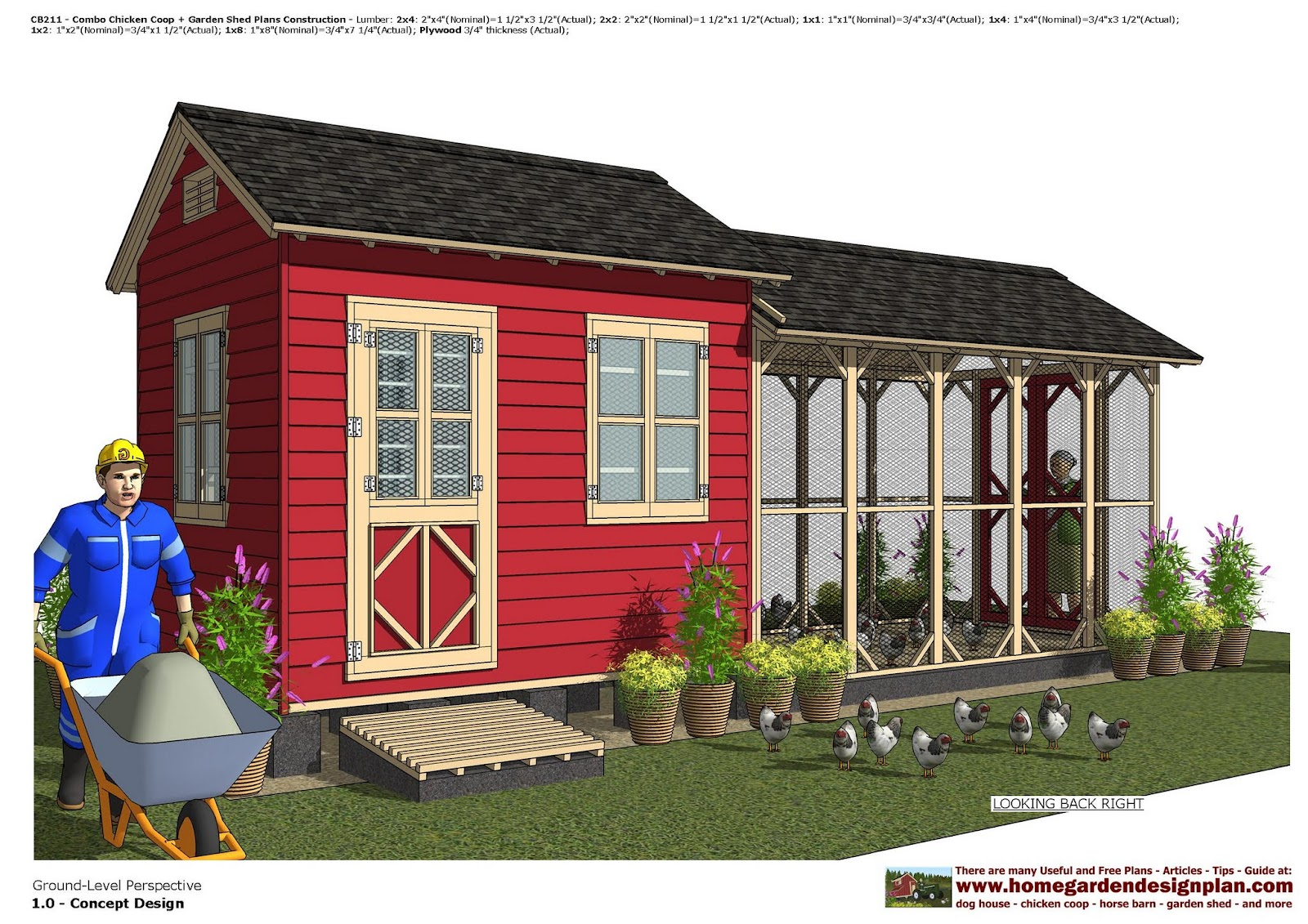 Home Garden Plans CB211 Combo Chicken Coop Garden