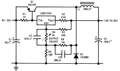 Dc To Dc Converter together with Variable Power Supply as well Usb Battery Replacement By Lm317 in addition 30 Watt Audio Power  lifier Schematic in addition Lm317 5a Variable Power Supply. on lm317t voltage regulator circuit diagram