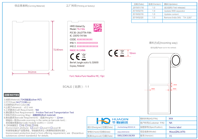 Nokia Wasp TA-1184 passes FCC. New ODM to manufacture the device.