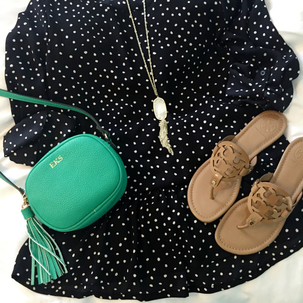 polka dot top, tory burch miller