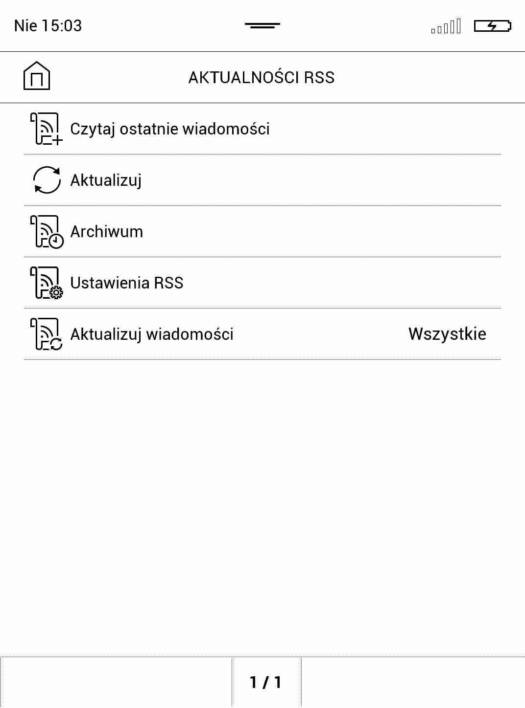 Opcje aplikacji do RSS na czytniku PocketBook TouchHD2