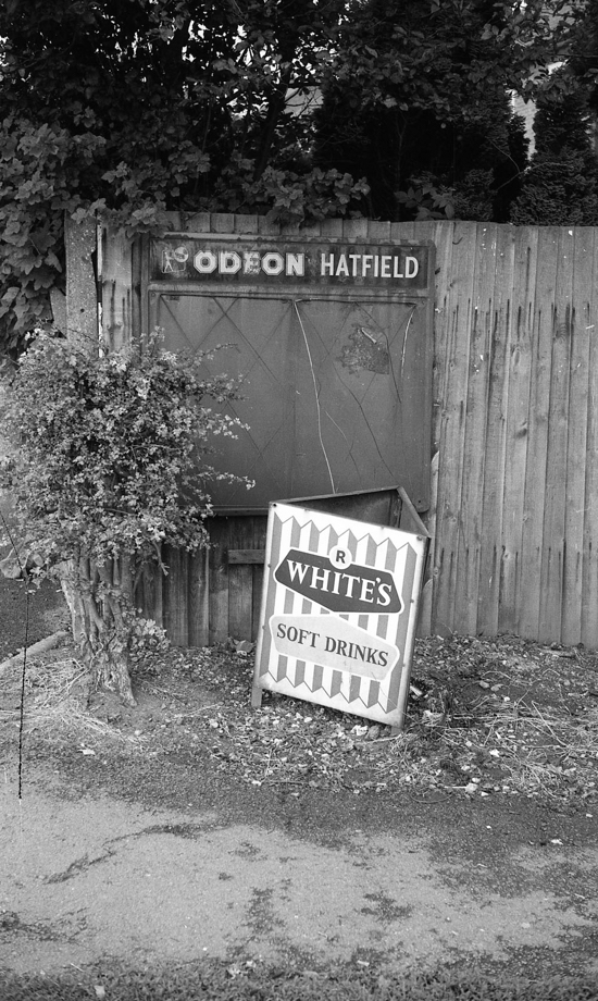 Photograph of The Odeon advertising board in Bradmore Green in October 1968. The cinema closed in 1973