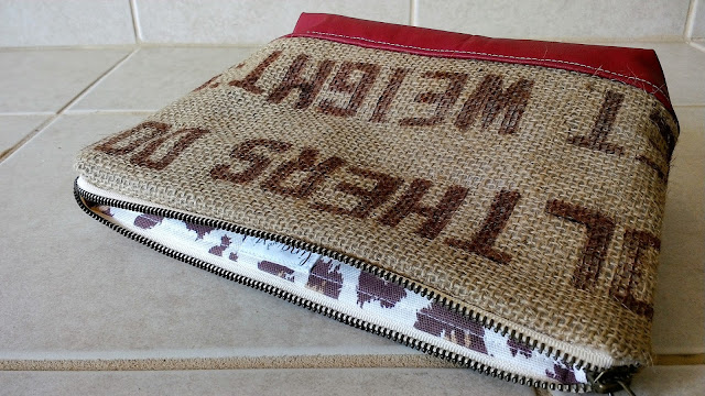 Burlap Coffee Zipper Bag by Lina and Vi Plymouth Michigan - www.linaandvi.etsy.com