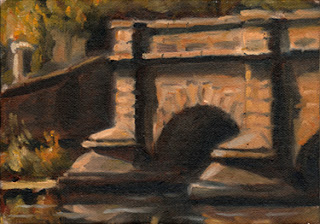 Oil painting of two pillars of an early nineteenth-century sandstone bridge.