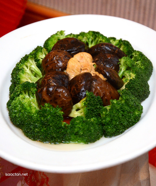 Stewed Fucuk Flower and Black Mushroom with Broccoli