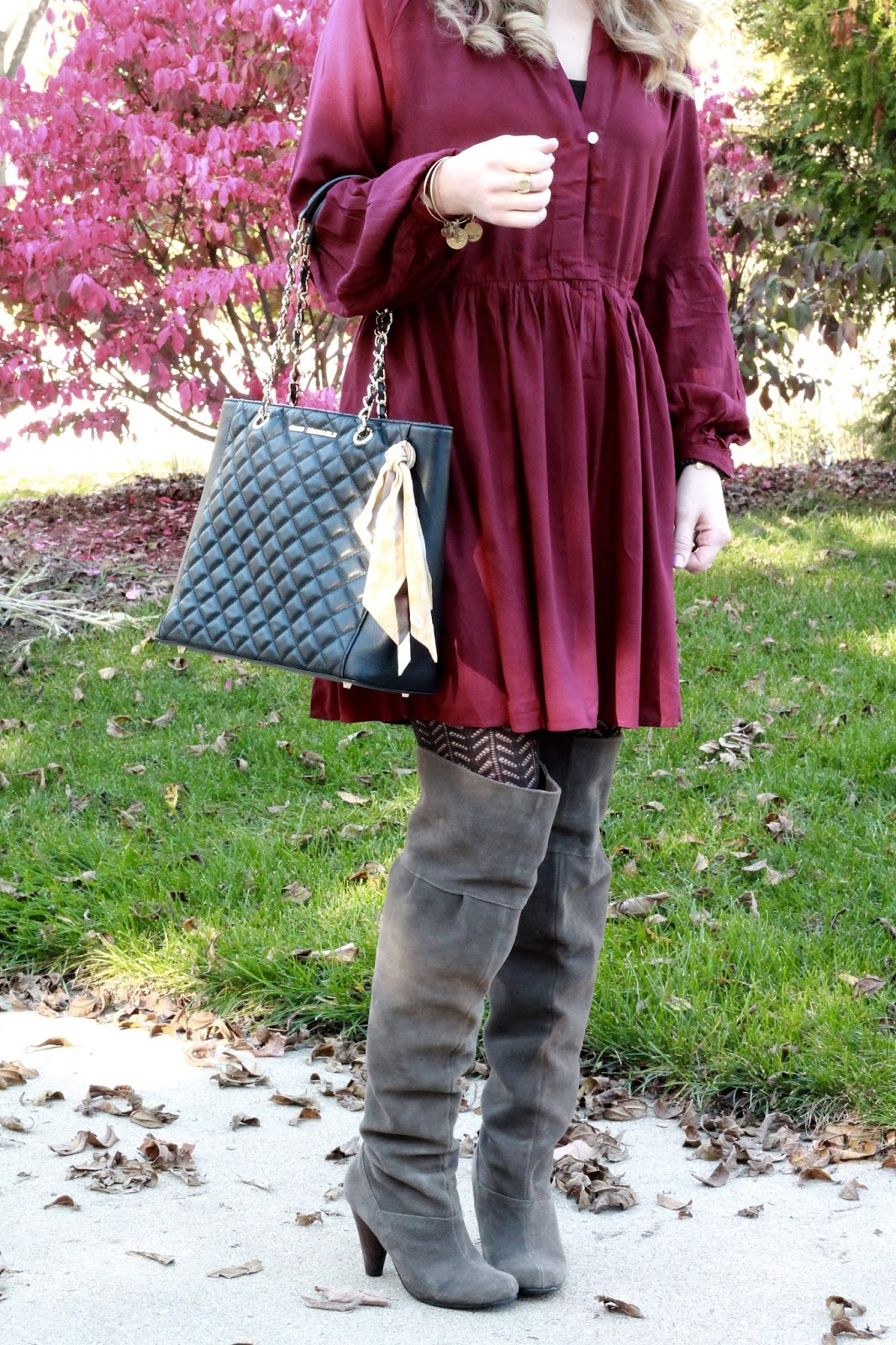 burgundy boho dress, grey OTK boots, black floppy hat, choker, Greg Michaels black quilted bag